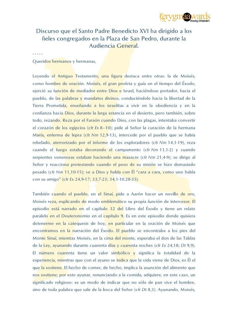 Discurso que el Santo Padre Benedicto XVI ha dirigido a los      fieles congregados en la Plaza de San Pedro, durante...