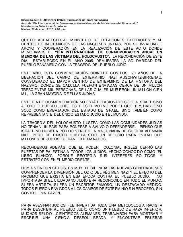 """1 Discurso de S.E. Alexander Galilee, Embajador de Israel en Panamá Acto de """"Día Internacional de Conmemoración en Memoria..."""