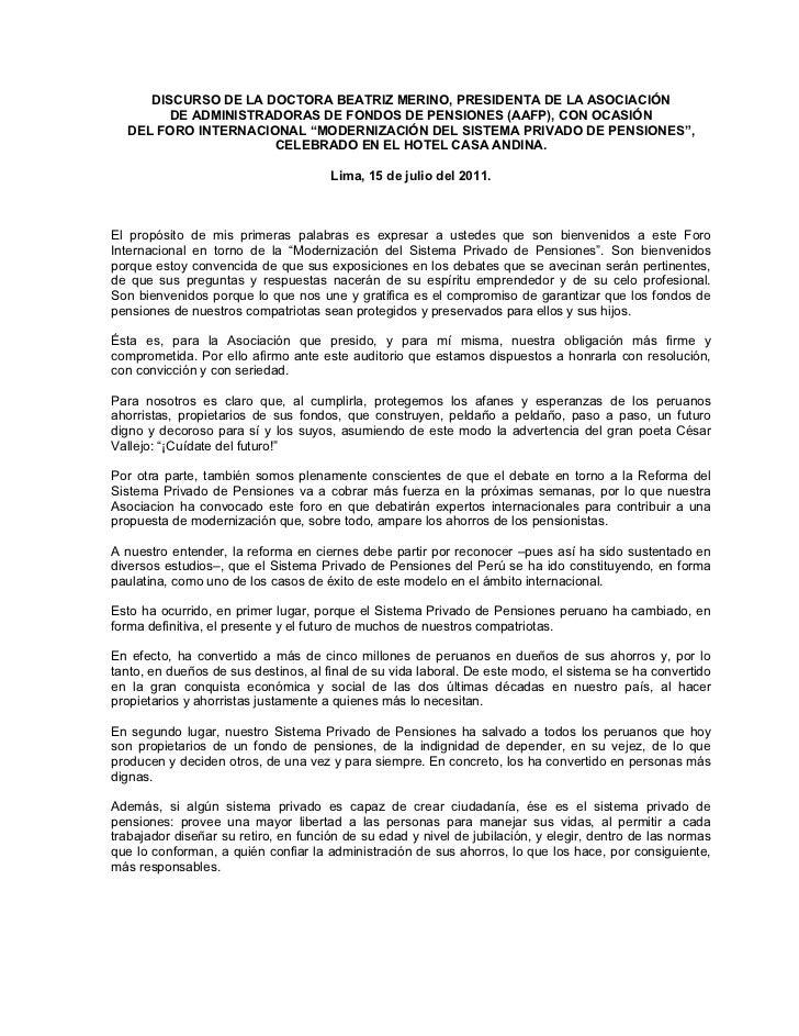DISCURSO DE LA DOCTORA BEATRIZ MERINO, PRESIDENTA DE LA ASOCIACIÓN        DE ADMINISTRADORAS DE FONDOS DE PENSIONES (AAFP)...