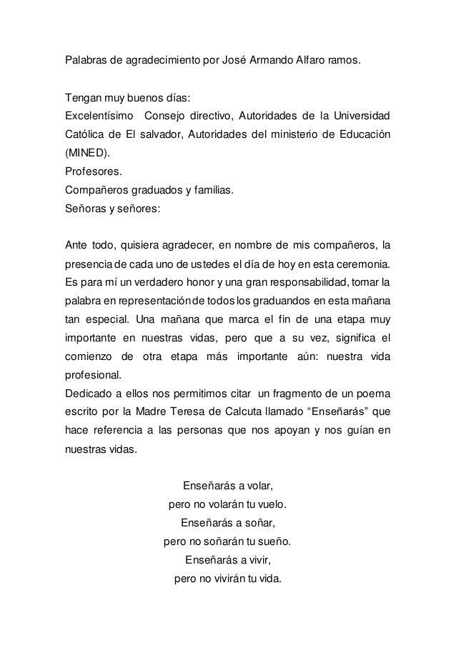 Palabras de agradecimiento por José Armando Alfaro ramos.  Tengan muy buenos días:  Excelentísimo Consejo directivo, Autor...