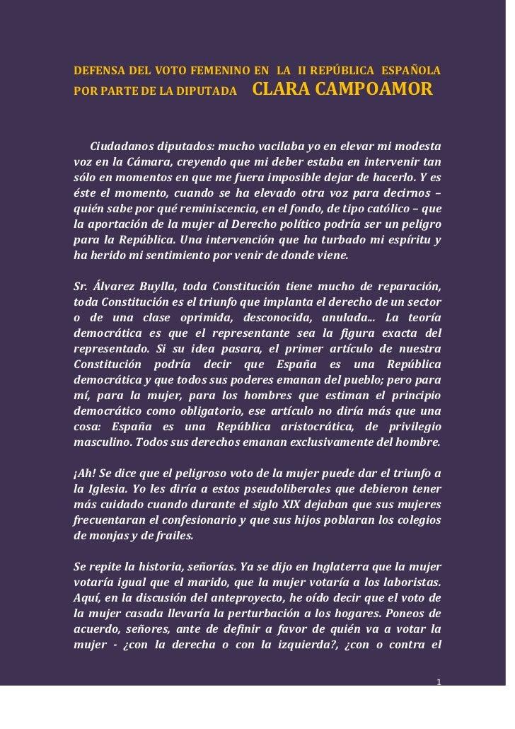 DEFENSA DEL VOTO FEMENINO EN  LA  II REPÚBLICA  ESPAÑOLA POR PARTE DE LA DIPUTADA     CLARA CAMPOAMOR<br />      Ciudadano...