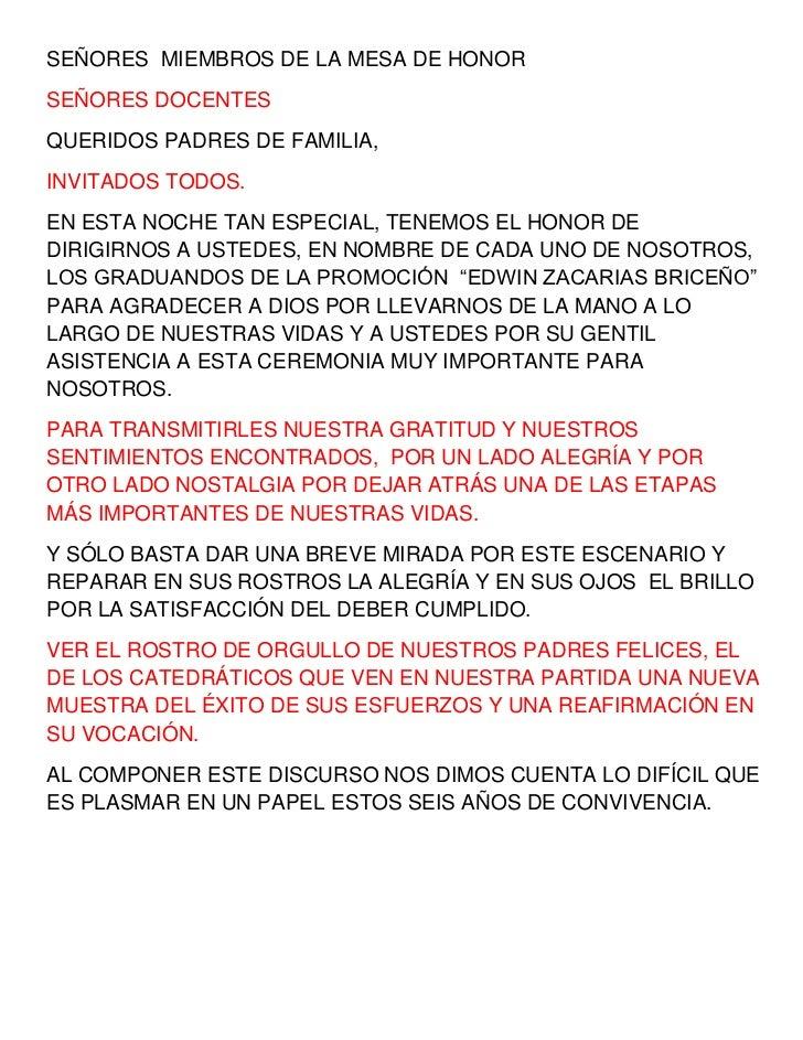 SEÑORES  MIEMBROS DE LA MESA DE HONOR<br />SEÑORES DOCENTES <br />QUERIDOS PADRES DE FAMILIA,<br />INVITADOS TODOS.<br />E...
