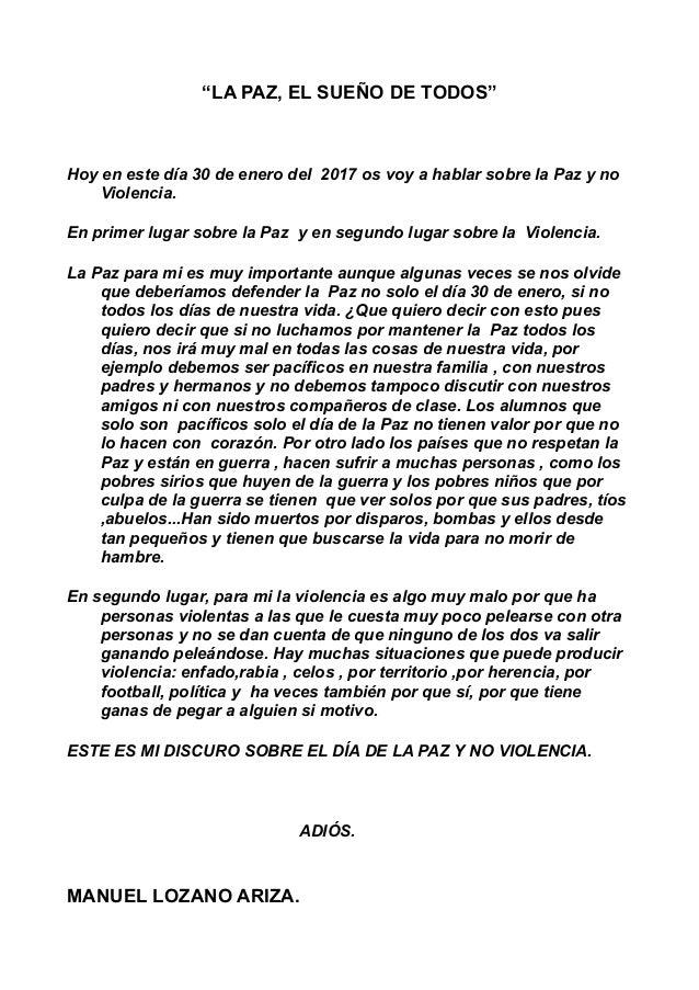 Discurso De La Paz Y No Violencia