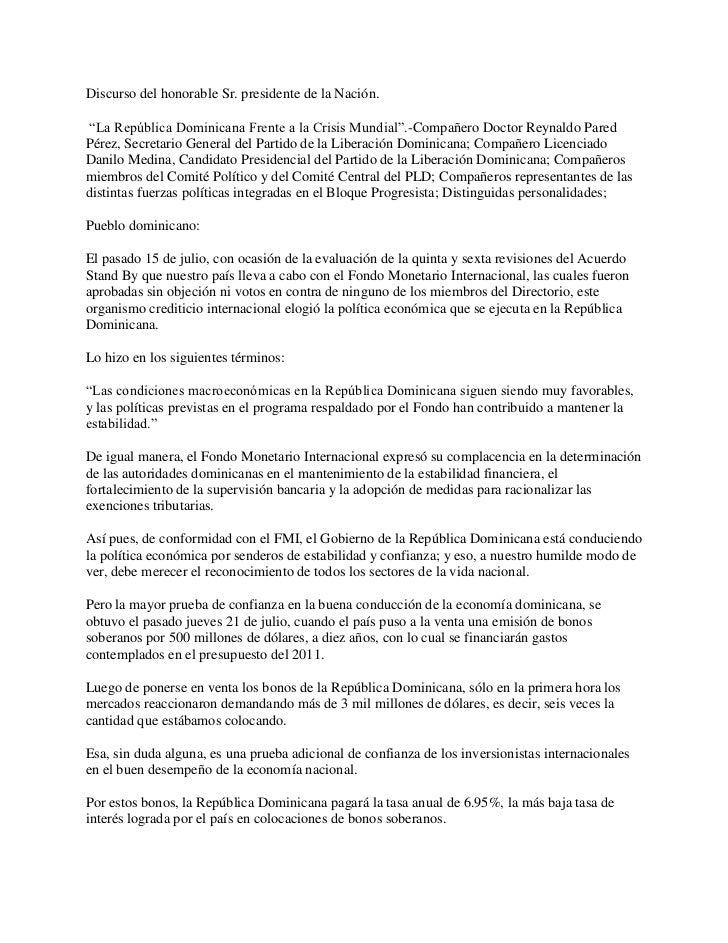 """Discurso del honorable Sr. presidente de la Nación.<br /> """"La República Dominicana Frente a la Crisis Mundial"""".-Compañero ..."""