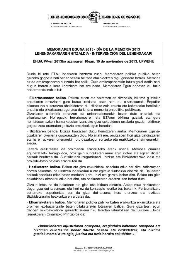 LEHENDAKARITZA Komunikaziorako Zuzendaritza  PRESIDENCIA Dirección de Comunicación  MEMORIAREN EGUNA 2013 - DÍA DE LA MEMO...