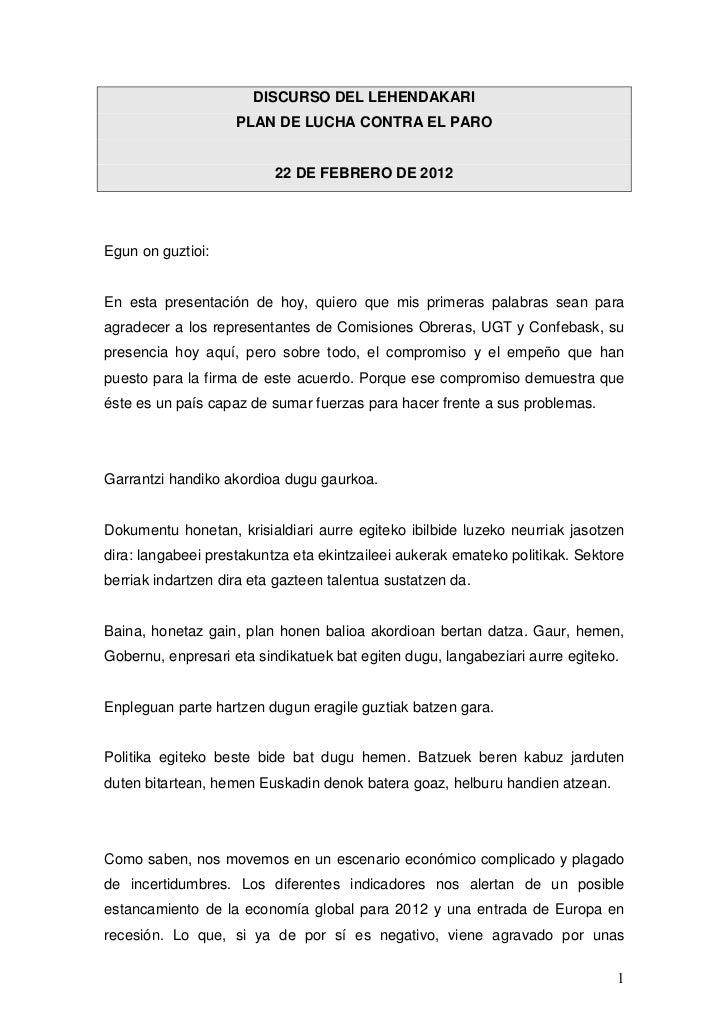 DISCURSO DEL LEHENDAKARI                    PLAN DE LUCHA CONTRA EL PARO                          22 DE FEBRERO DE 2012Egu...
