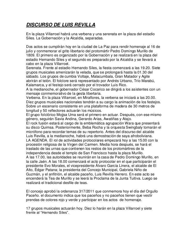 DISCURSO DE LUIS REVILLAEn la plaza Villarroel habrá una verbena y una serenata en la plaza del estadioSiles. La Gobernaci...