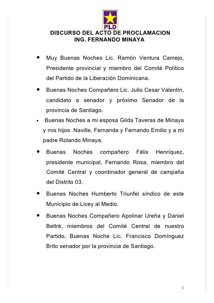 DISCURSO DEL ACTO DE PROCLAMACION              ING. FERNANDO MINAYA   • Muy Buenas Noches Lic. Ramón Ventura Camejo,      ...