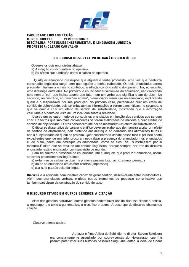 FACULDADE LUCIANO FEIJÃ0 CURSO: DIREITO PERÍODO 2007.2 DISCIPLINA: PORTUGUÊS INSTRUMENTAL E LINGUAGEM JURÍDICA PROFESSOR: ...