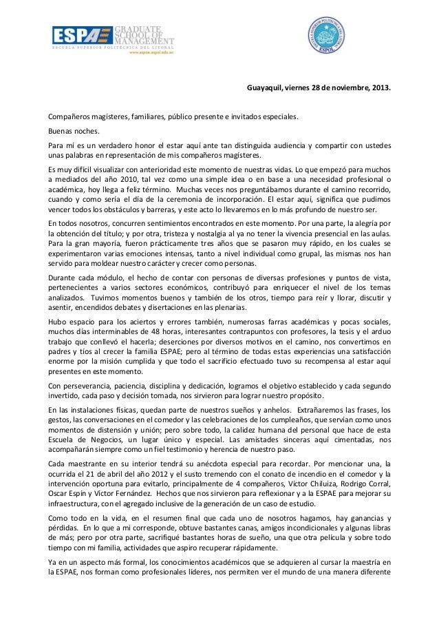 Guayaquil, viernes 28 de noviembre, 2013.  Compañeros magísteres, familiares, público presente e invitados especiales. Bue...