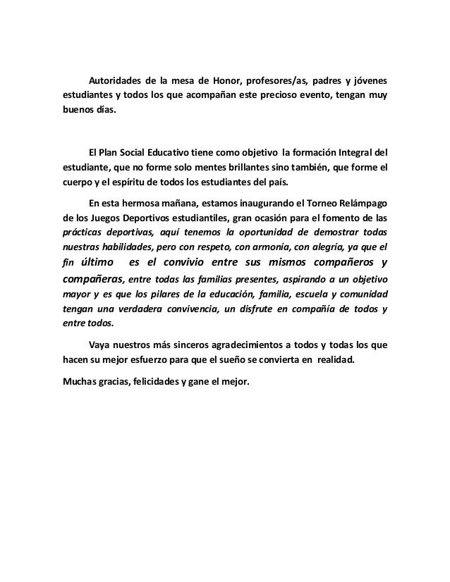 Discurso Inauguración Juegos Deportivos 2012