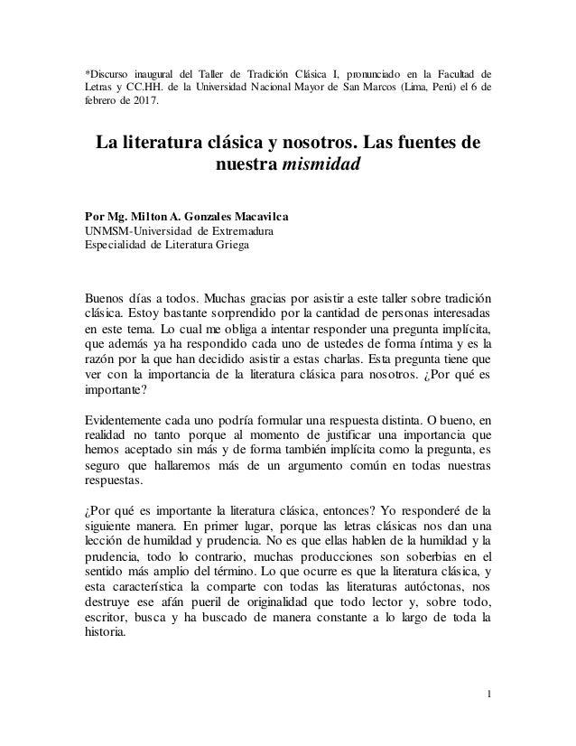 1 *Discurso inaugural del Taller de Tradición Clásica I, pronunciado en la Facultad de Letras y CC.HH. de la Universidad N...