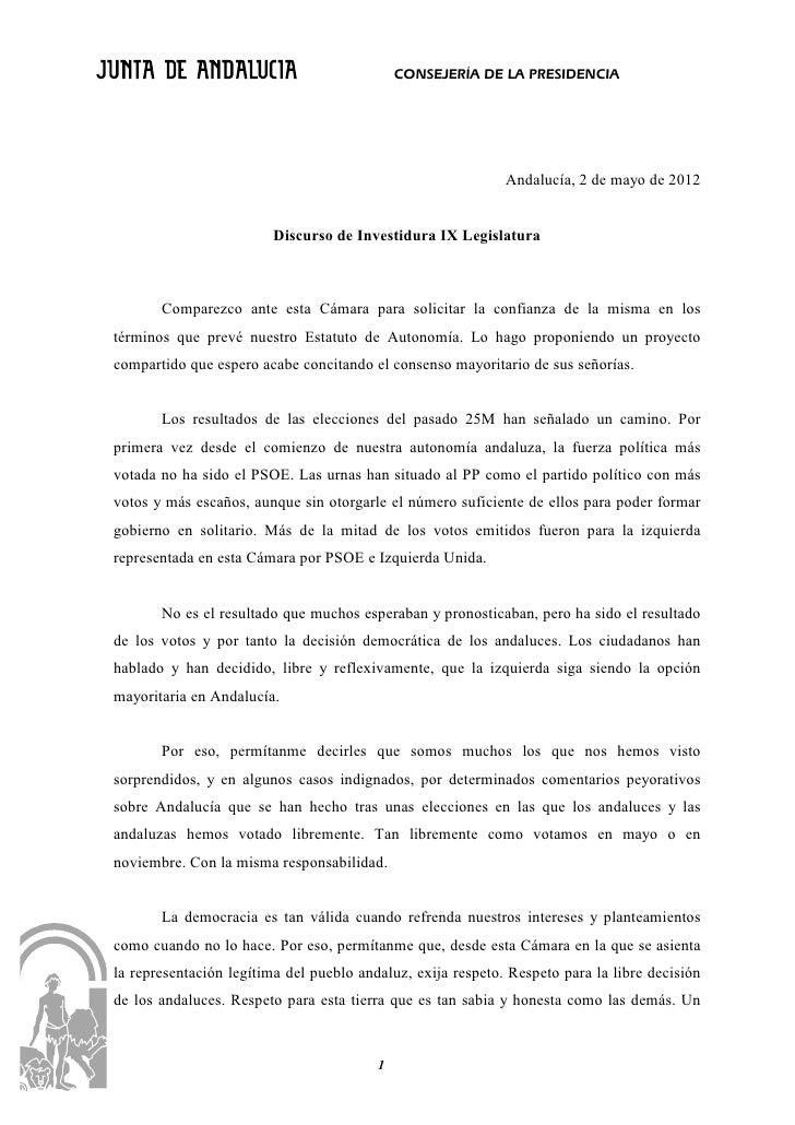 CONSEJERÍA DE LA PRESIDENCIA                                                             Andalucía, 2 de mayo de 2012     ...