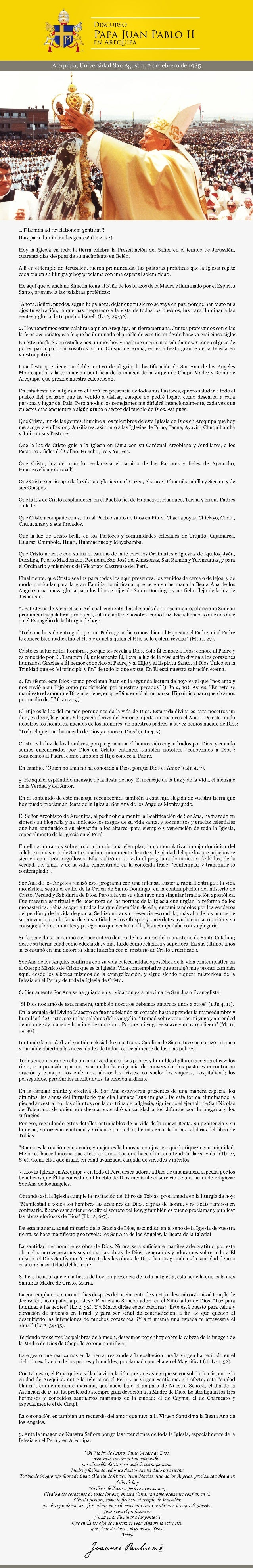 Discurso del Papa Juan Pablo II en Arequipa - 1985