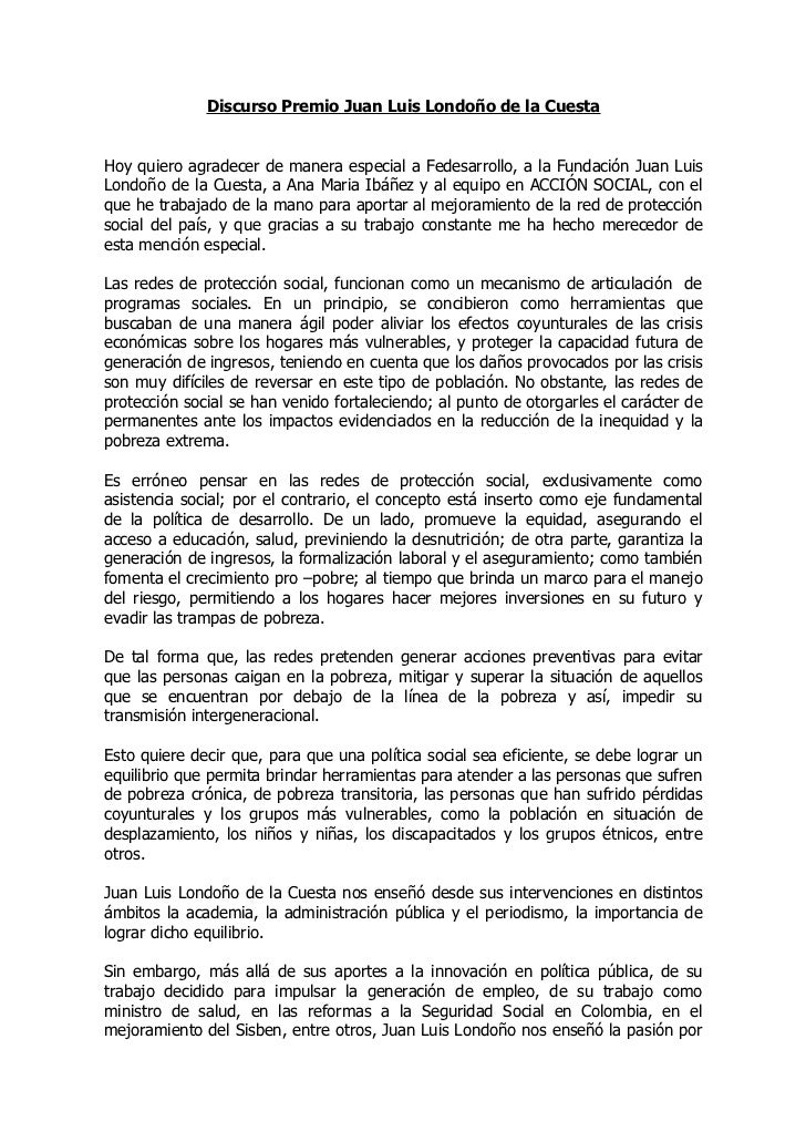 Discurso Premio Juan Luis Londoño de la CuestaHoy quiero agradecer de manera especial a Fedesarrollo, a la Fundación Juan ...