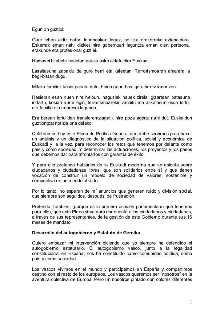 Discurso lehendakaria pleno_debate_politica_general_politika_orokorrari_buruzko_eztabaida