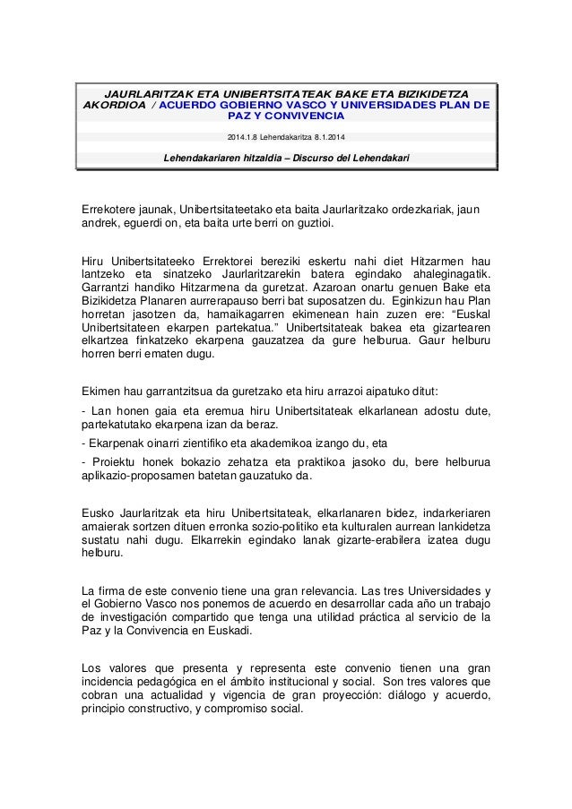 JAURLARITZAK ETA UNIBERTSITATEAK BAKE ETA BIZIKIDETZA AKORDIOA / ACUERDO GOBIERNO VASCO Y UNIVERSIDADES PLAN DE PAZ Y CONV...