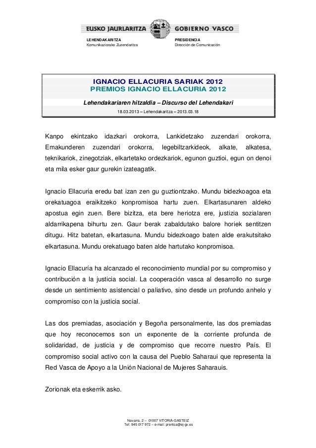 LEHENDAKARITZA                                     PRESIDENCIA              Komunikaziorako Zuzendaritza                  ...