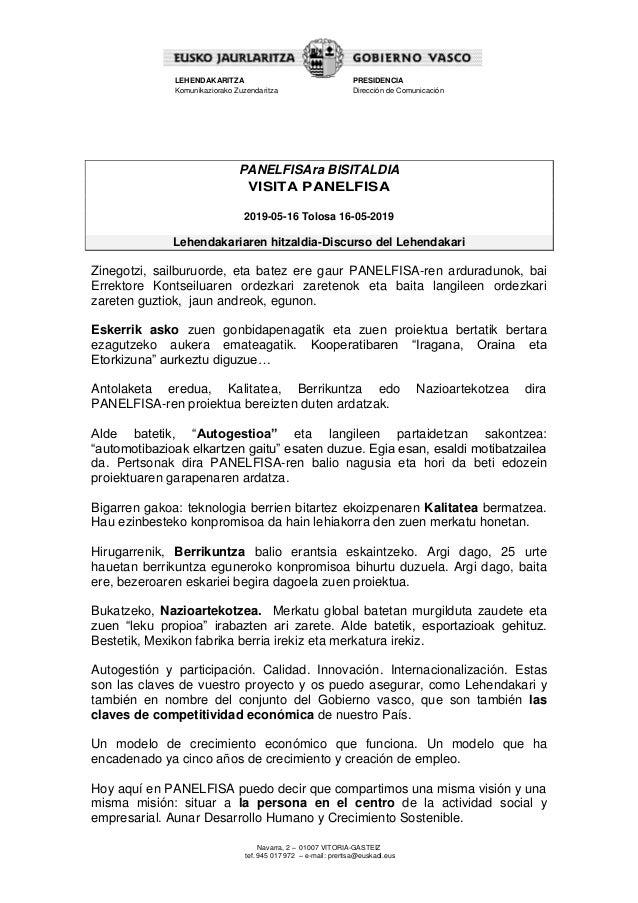 Navarra, 2 – 01007 VITORIA-GASTEIZ tef. 945 017 972 – e-mail: prentsa@euskadi.eus LEHENDAKARITZA Komunikaziorako Zuzendari...