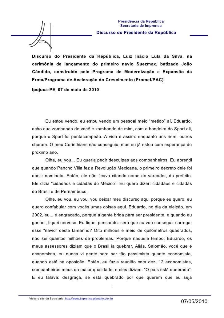 Presidência da República                                                                     Secretaria de Imprensa       ...