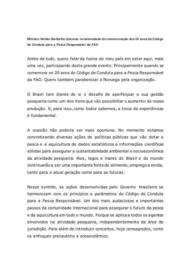 Ministro Helder Barbalho discursa na solenidade de comemoração dos 20 anos do Código de Conduta para a Pesca Responsável d...