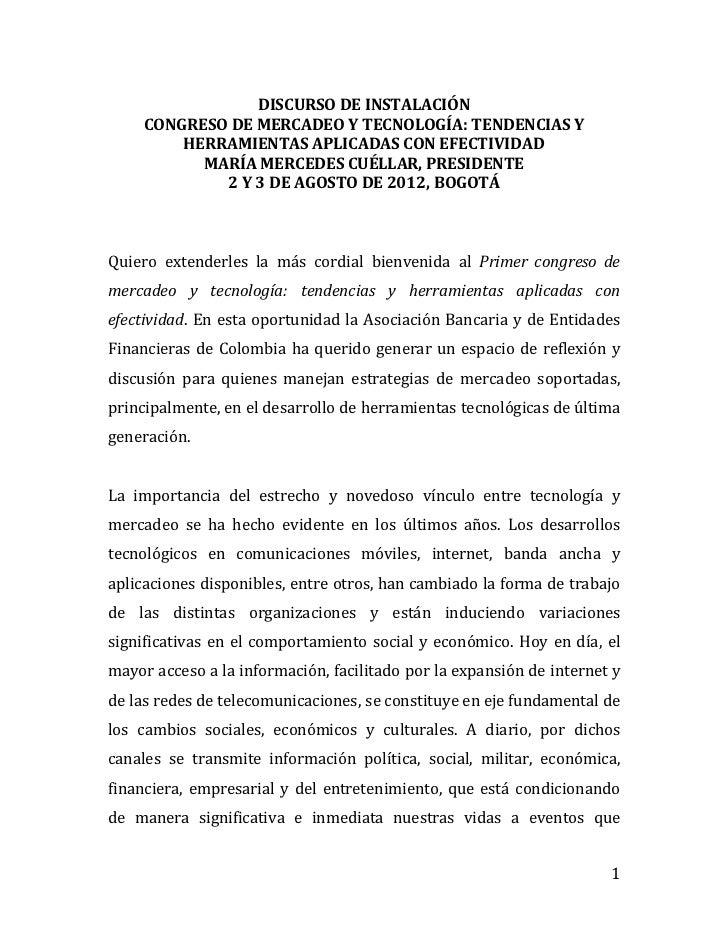 DISCURSO DE INSTALACIÓN     CONGRESO DE MERCADEO Y TECNOLOGÍA: TENDENCIAS Y         HERRAMIENTAS APLICADAS CON EFECTIVIDAD...