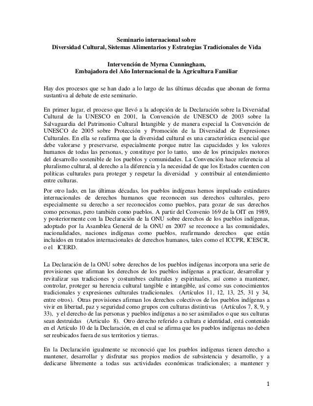 1 Seminario internacional sobre Diversidad Cultural, Sistemas Alimentarios y Estrategias Tradicionales de Vida Intervenció...