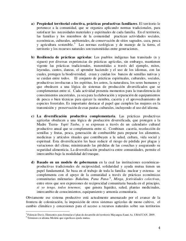 4 a) Propiedad territorial colectiva, prácticas productivas familiares. El territorio le pertenece a la comunidad, que se ...