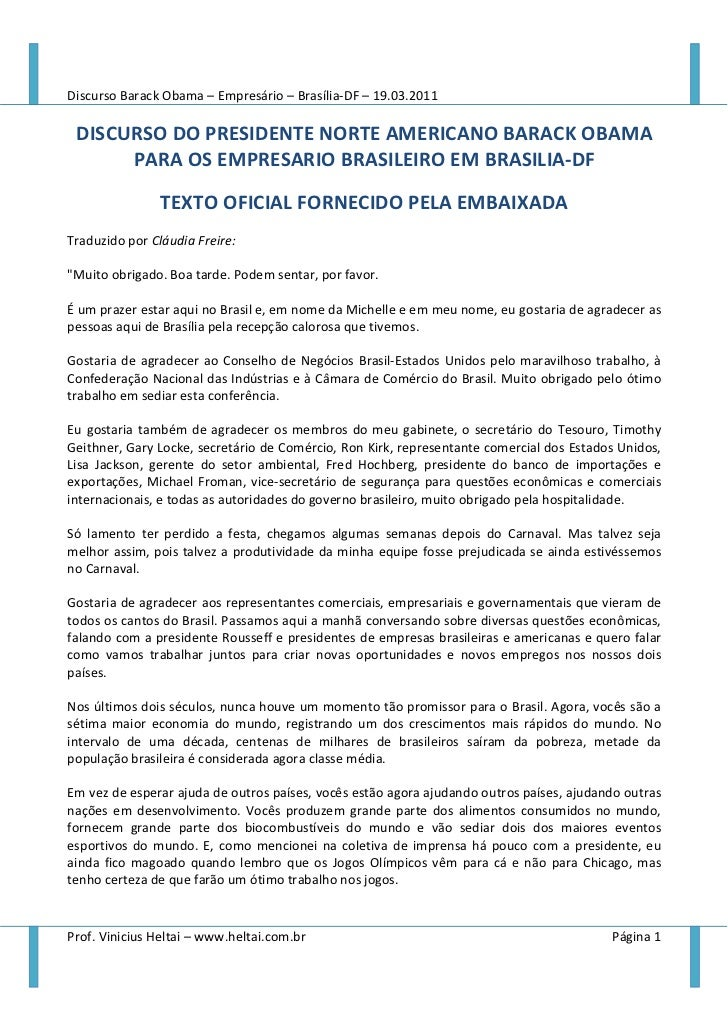 Discurso Barack Obama – Empresário – Brasília-DF – 19.03.2011 DISCURSO DO PRESIDENTE NORTE AMERICANO BARACK OBAMA      PAR...