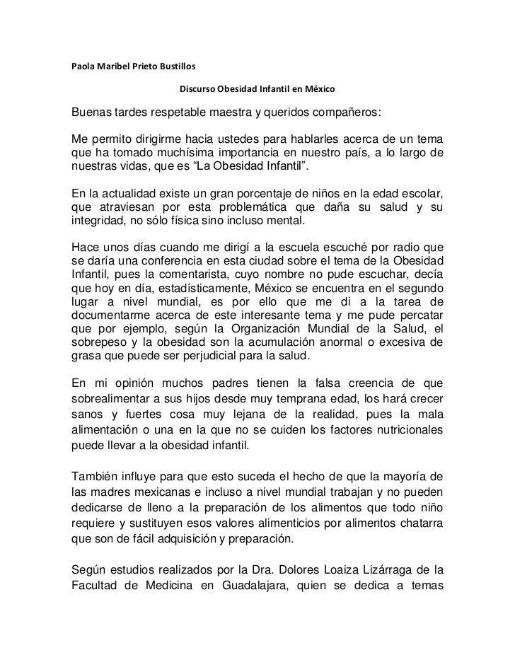 Paola Maribel Prieto Bustillos                          Discurso Obesidad Infantil en MéxicoBuenas tardes respetable maest...