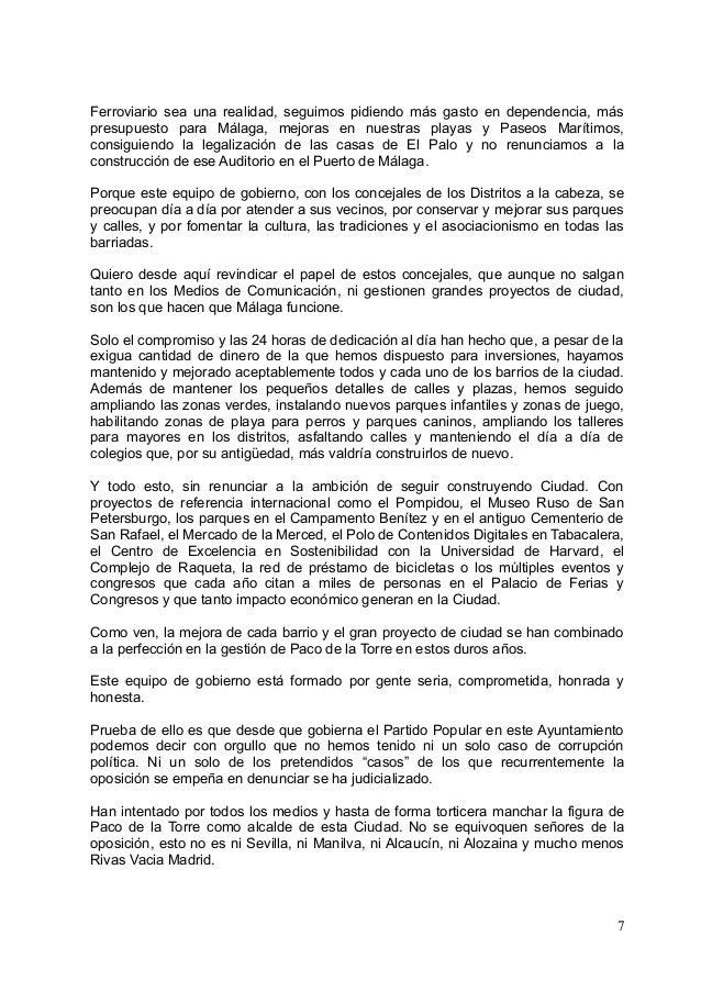 Discruso del portavoz del grupo municipal del partido popular en el d - Casas embargadas en el puerto de la torre malaga ...