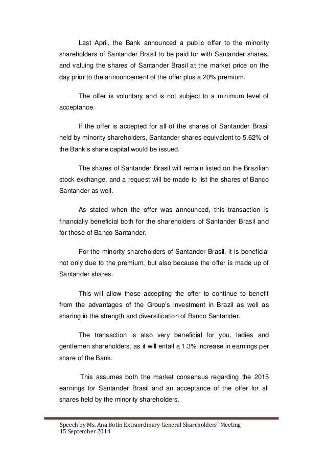 Ana Botín's speech at the extraordinary shareholders' general meeting of Banco Santander Slide 3