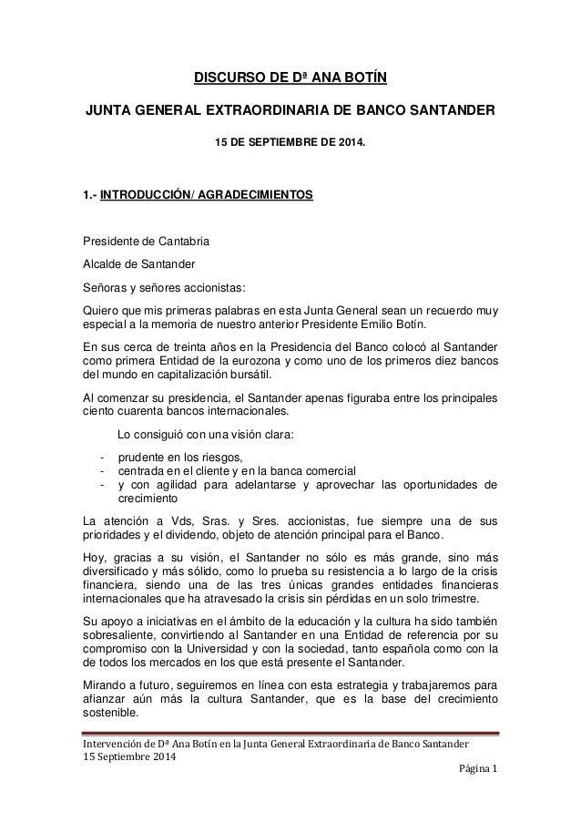 Intervención de Dª Ana Botín en la Junta General Extraordinaria de Banco Santander  15 Septiembre 2014  Página 1  DISCURSO...