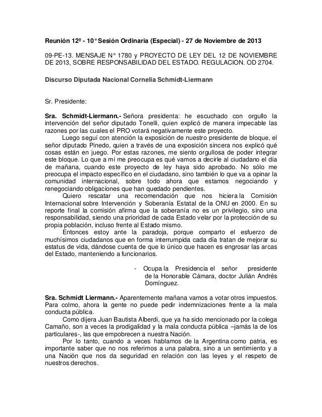 Reunión 12º - 10° Sesión Ordinaria (Especial) - 27 de Noviembre de 2013 09-PE-13. MENSAJE N° 1780 y PROYECTO DE LEY DEL 12...