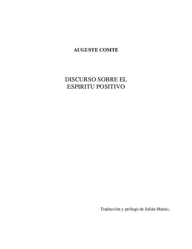 Filosof a Contempor nea Auguste Comte Discurso sobre el esp ritu positivo