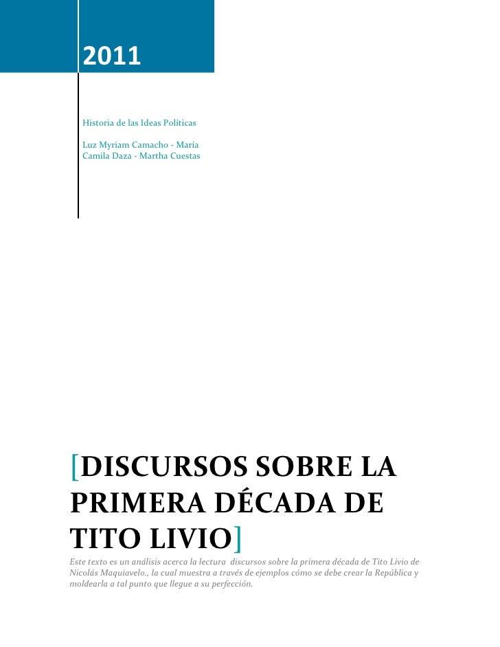 2011   Historia de las Ideas Políticas   Luz Myriam Camacho - María   Camila Daza - Martha Cuestas[DISCURSOS SOBRE LAPRIME...
