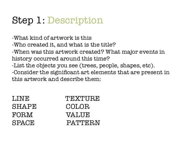 how to write a description of an artwork