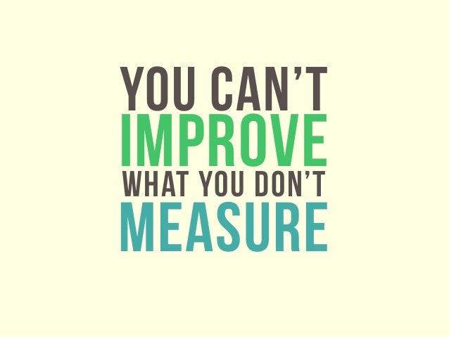 YOU CAN'TIMPROVEWHAT YOU DON'TMEASURE
