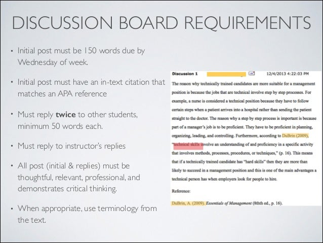 examples of discussion board etiquette for Message board netiquette and guidelines when posting on the  discussion board in your online class, you should: • make posts that are on topic  and.