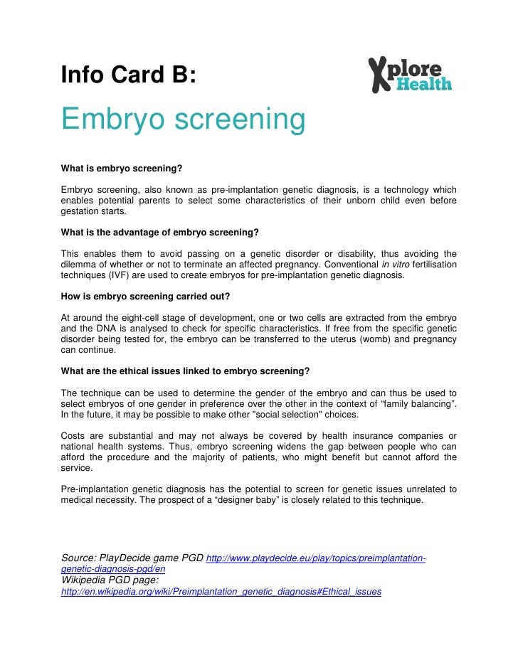 ethical issues of embryo screening