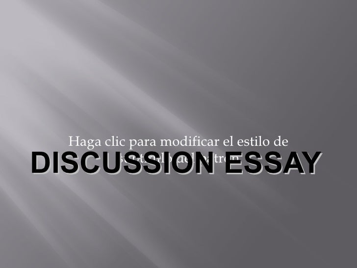 Sample discussion essay