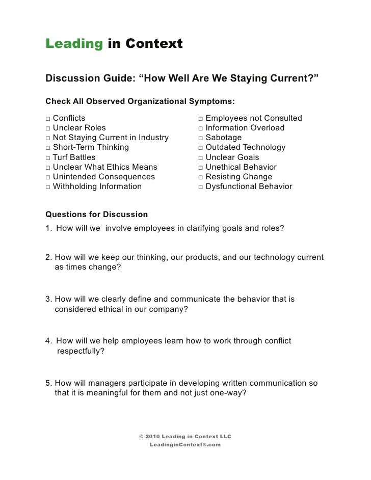 """Leading in ContextDiscussion Guide: """"How Well Are We Staying Current?""""Check All Observed Organizational Symptoms:□ Conflic..."""