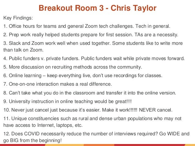 Breakout Room 3 - Chris Taylor Key Findings: 1. Office hours for teams and general Zoom tech challenges. Tech in general. ...