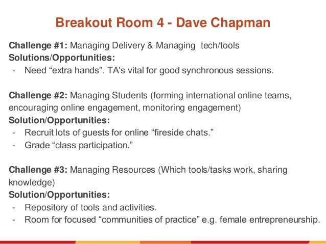 """Breakout Room 4 - Dave Chapman Challenge #1: Managing Delivery & Managing tech/tools Solutions/Opportunities: - Need """"extr..."""