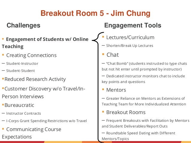 Breakout Room 5 - Jim Chung ▪ Engagement of Students w/ Online Teaching ▪ Creating Connections – Student-Instructor – Stud...