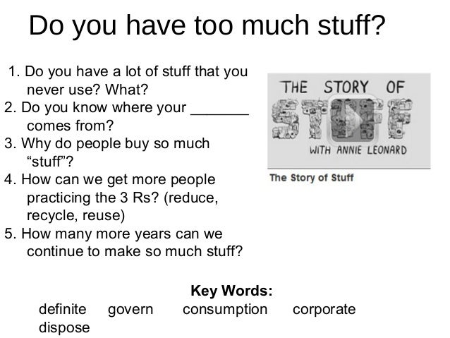 Do you have too much stuff? 1. Do you have a lot of stuff that you never use? What? 2. Do you know where your _______ come...