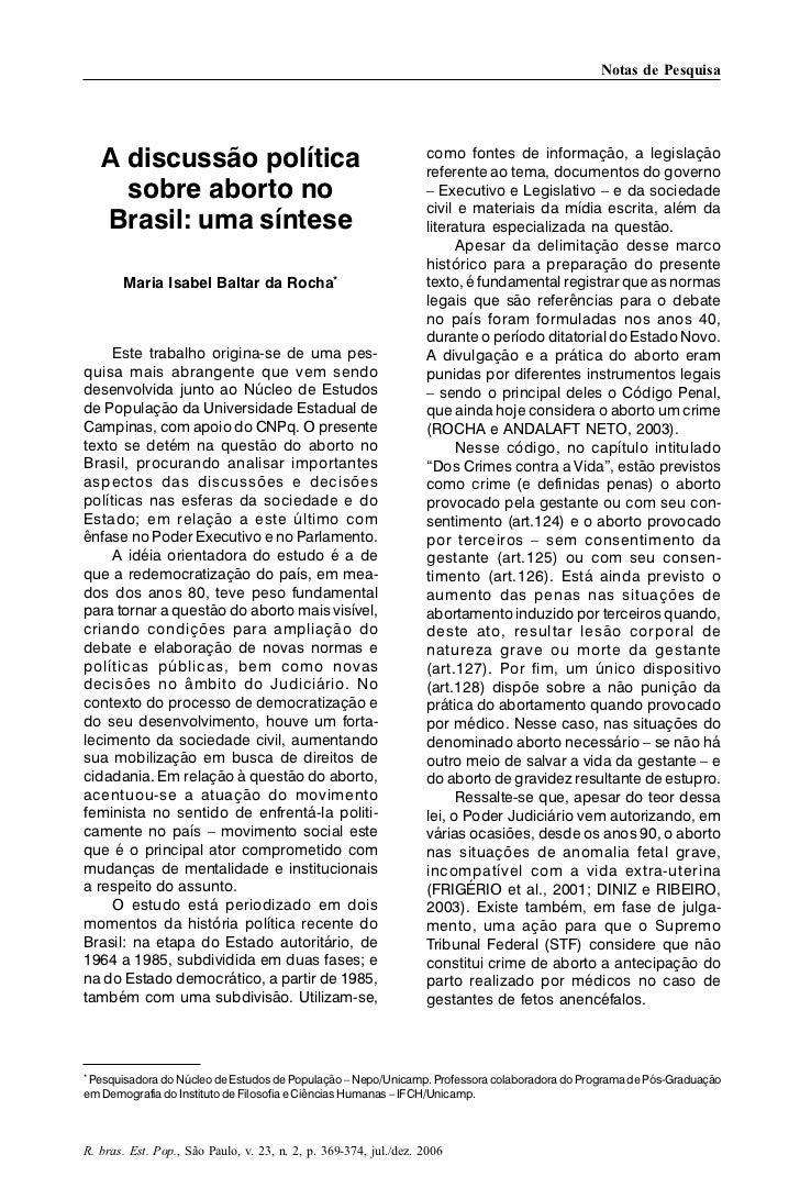 Notas de Pesquisa   A discussão política                                           como fontes de informação, a legislação...