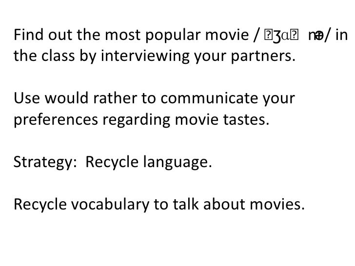 Find out the most popular movie / ˈ ʒɑˈnr in                                         ə/the class by interviewing your part...