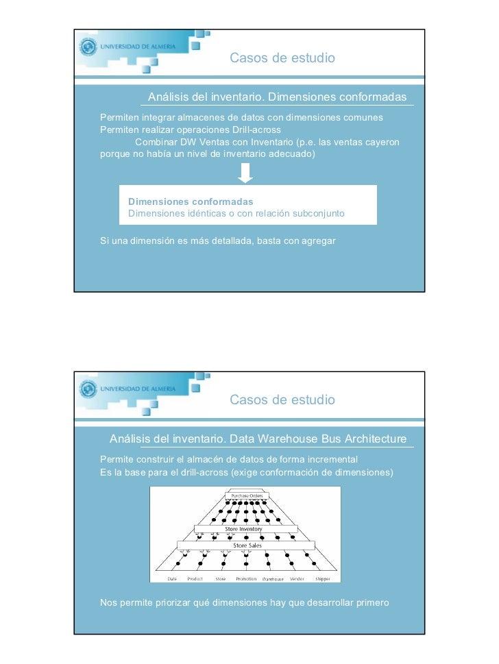 Casos de estudio             Análisis del inventario. Dimensiones conformadas Permiten integrar almacenes de datos con dim...