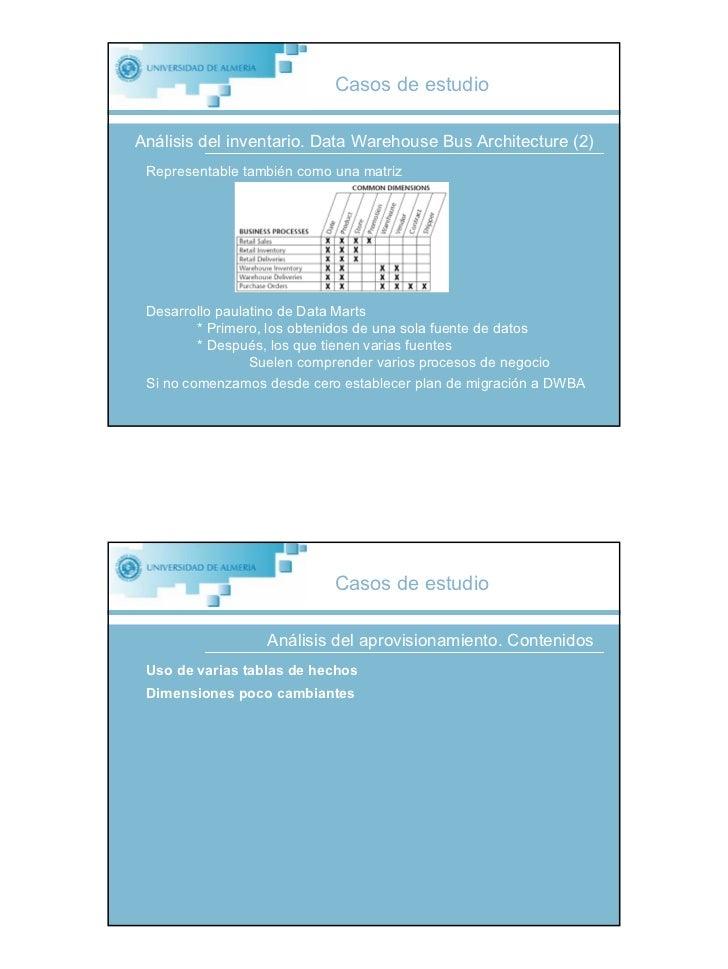 Casos de estudio  Análisis del inventario. Data Warehouse Bus Architecture (2)  Representable también como una matriz     ...